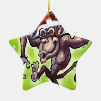Chimpanzee Christmas Double-Sided Star Ceramic Christmas Ornament