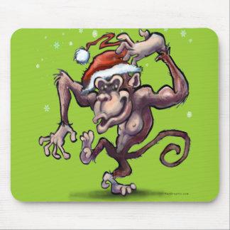 Chimpanzee Christmas Mouse Pad