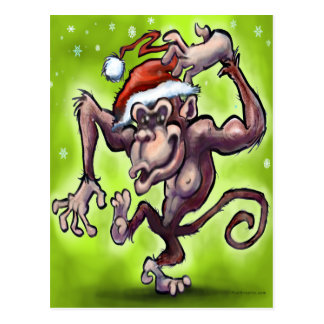 Chimpanzee Christmas Postcard