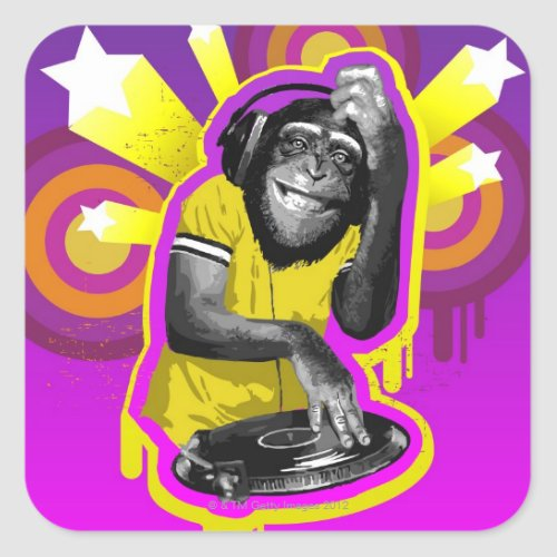 Chimpanzee DJ Square Sticker