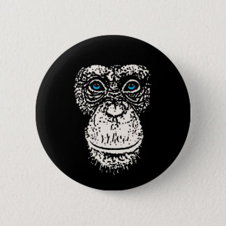 Chimpanzee Face with Blue Eyes Pinback Button