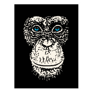 Chimpanzee Face with Blue Eyes Postcard