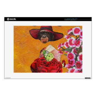 """Chimpanzee Floral Butterfly Collage 15"""" Laptop Skins"""