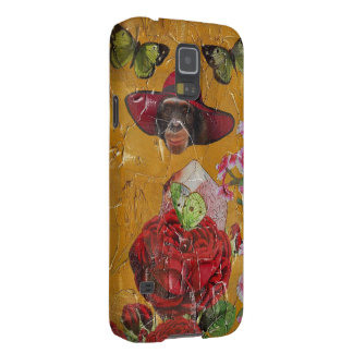 Chimpanzee Flowers Butterfly Grunge Collage Galaxy S5 Cover