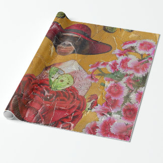 Chimpanzee Flowers Butterfly Grunge Collage Wrapping Paper
