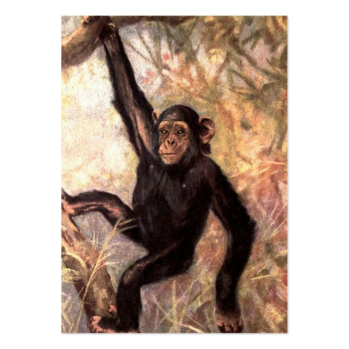 Chimpanzee Hanging From Tree Large Business Card