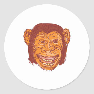 Chimpanzee Head Front Isolated Drawing Classic Round Sticker