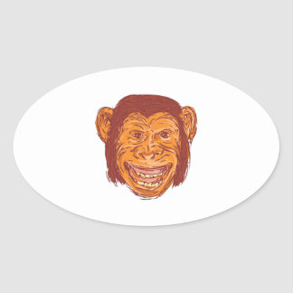 Chimpanzee Head Front Isolated Drawing Oval Sticker