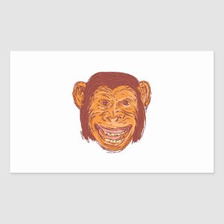 Chimpanzee Head Front Isolated Drawing Rectangular Sticker