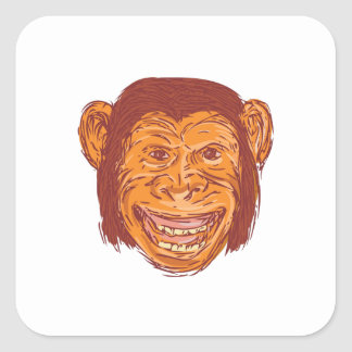 Chimpanzee Head Front Isolated Drawing Square Sticker