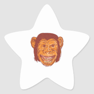 Chimpanzee Head Front Isolated Drawing Star Sticker