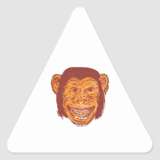 Chimpanzee Head Front Isolated Drawing Triangle Sticker