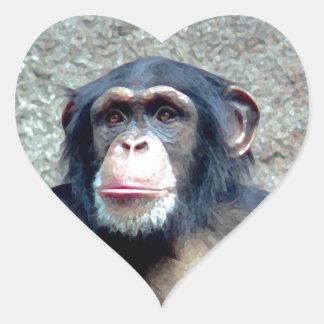 Chimpanzee Heart Sticker