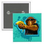 Chimpanzee Holding a Banana 2 Inch Square Button
