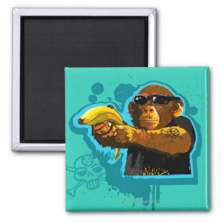 Chimpanzee Holding a Banana 2 Inch Square Magnet