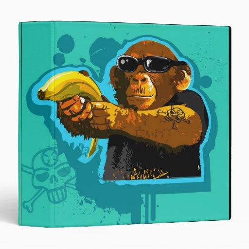 Chimpanzee Holding a Banana 3 Ring Binder