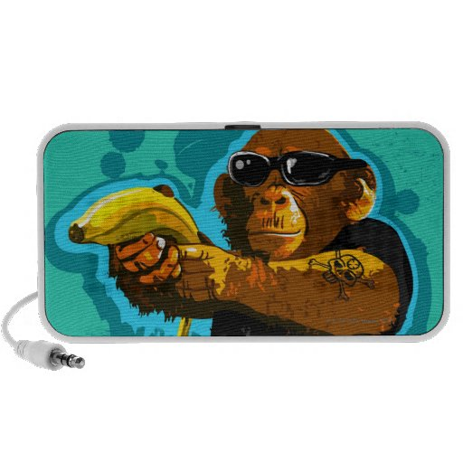 Chimpanzee Holding a Banana Notebook Speaker