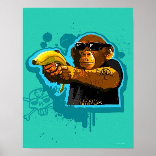 Chimpanzee Holding a Banana Poster