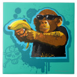 Chimpanzee Holding a Banana Tile