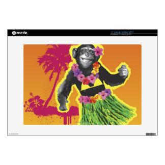 "Chimpanzee Hula Dancing 15"" Laptop Decal"