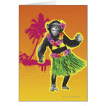 Chimpanzee Hula Dancing Card
