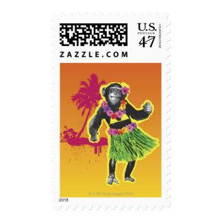 Chimpanzee Hula Dancing Postage