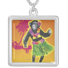 Chimpanzee Hula Dancing Silver Plated Necklace