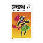 Chimpanzee Hula Dancing Stamp