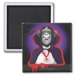 Chimpanzee in Dracula Costume 2 Inch Square Magnet