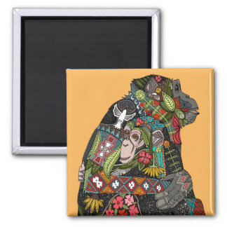 chimpanzee love 2 inch square magnet