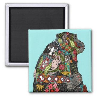 chimpanzee love sky 2 inch square magnet