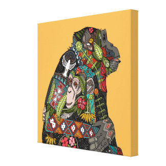 chimpanzee love stretched canvas print