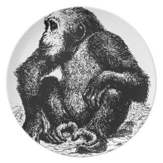 chimpanzee melamine plate
