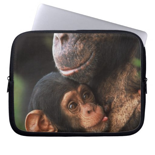 Chimpanzee Mother Nurturing Baby Laptop Computer Sleeve