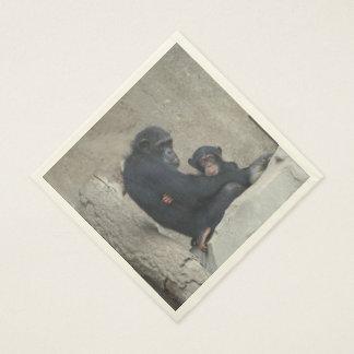 Chimpanzee Mummy and Baby Standard Luncheon Napkin