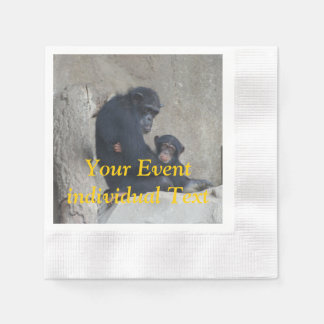 Chimpanzee Mummy and Baby Coined Cocktail Napkin