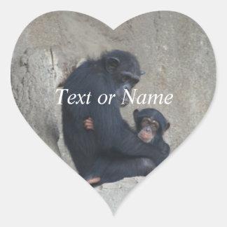 Chimpanzee Mummy and Baby Heart Sticker