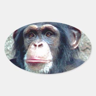 Chimpanzee Oval Sticker