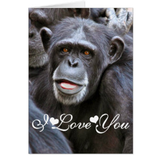 Chimpanzee Photo Image I Love You Card