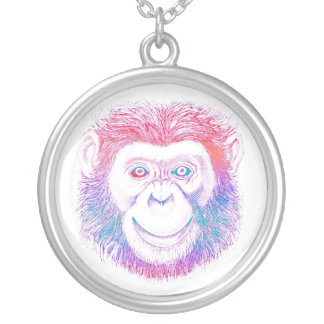 Chimpanzee Psychedelic Round Pendant Necklace
