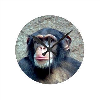 Chimpanzee Round Clock