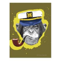 Chimpanzee Smoking Pipe Postcard