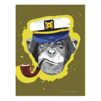 Chimpanzee Smoking Pipe Postcard