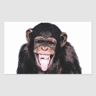 Chimpanzee Tongue Rectangular Sticker