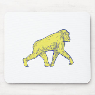 Chimpanzee Walking Side Drawing Mouse Pad