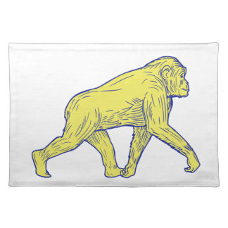 Chimpanzee Walking Side Drawing Placemat