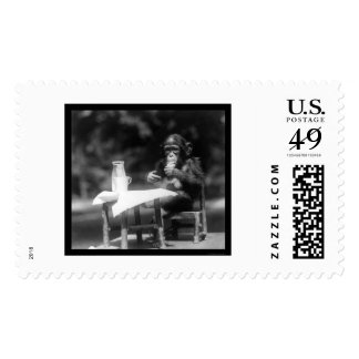 Chimpanzee With a Bottle and Glass at the Zoo 1926 Stamp
