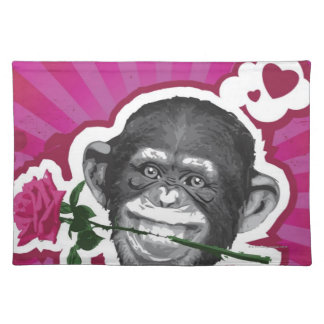 Chimpanzee with a Rose in his Mouth Place Mats