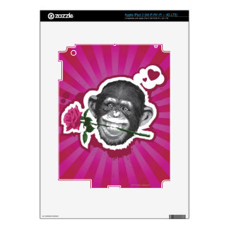 Chimpanzee with a Rose in his Mouth Skins For iPad 3