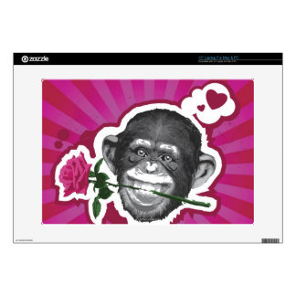 Chimpanzee with a Rose in his Mouth Skin For Laptop